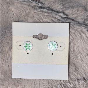 Green snowflake Sterling Silver earrings